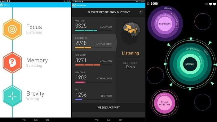 """elevate """"width ="""" 700 """"height ="""" 394 """"srcset ="""" https://aplicacionestop.com/wp-content/uploads/2020/03/1585505170_375_Los-15-mejores-juegos-mentales-para-dispositivos-Android-en-2020.jpg 700w, https: // www. ubuntupit.com/wp-content/uploads/2019/07/elevate-300x169.jpg 300w, https://www.ubuntupit.com/wp-content/uploads/2019/07/elevate-696x392.jpg 696w """"tamaños = """"(ancho máximo: 700px) 100vw, 700px"""" /> </p> <p> Elevate es una de las mejores aplicaciones de juegos mentales para Android en el mercado digital. Esta aplicación está diseñada para aumentar tus habilidades de habla, matemáticas, memoria, atención y velocidad. Se desarrolla con 40 minijuegos, que te ayudarán a fortalecer las habilidades cognitivas. Elevate proporciona ejercicios diarios para el cerebro con tres o cinco juegos, especialmente con la versión profesional. Lo más emocionante es que cada juego describirá su objetivo. Obtendrá un informe de rendimiento mensual, semanal y diario. Por lo tanto, se sentirá competitivo. Puede asimilar su rendimiento con otros usuarios de su grupo de edad. </p> <p> <span style="""