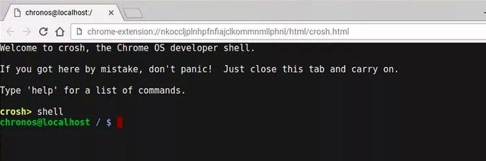 Opción de desarrollador de Chromebook - Comando de Shell