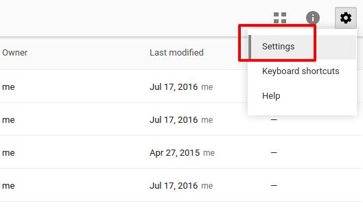 Menú de configuración de Google Drive