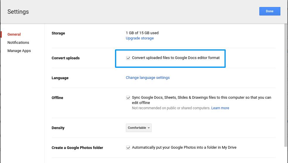 Seleccione Convertir cargas en Google Drive
