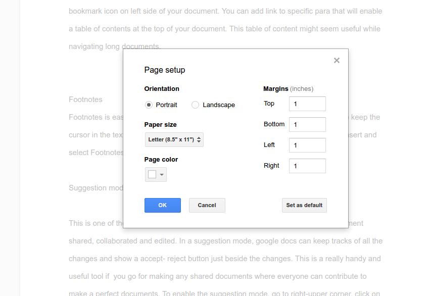 """Hacer-de-configuración-de-página-es-fácil-y-simple-en-google-docs """"width ="""" 849 """"height ="""" 586 """"srcset ="""" https: // www. ubuntupit.com/wp-content/uploads/2016/08/Doing-of-page-setup-is-easy-and-simple-on-google-docs-1.png 849w, https://www.ubuntupit.com /wp-content/uploads/2016/08/Doing-of-page-setup-is-easy-and-simple-on-google-docs-1-300x207.png 300w, https://www.ubuntupit.com/ wp-content / uploads / 2016/08 / Configurar-la-página-es-fácil-y-simple-en-google-docs-1-768x530.png 768w, https://www.ubuntupit.com/wp -content / uploads / 2016/08 / Hacer-de-configuración-de-página-es-fácil-y-simple-en-google-docs-1-100x70.png 100w, https://www.ubuntupit.com/wp- content / uploads / 2016/08 / Hacer-de-configuración-de-la-página-es-fácil-y-simple-en-google-docs-1-218x150.png 218w, https://www.ubuntupit.com/wp-content /uploads/2016/08/Doing-of-page-setup-is-easy-and-simple-on-google-docs-1-436x300.png 436w """"tamaños ="""" (ancho máximo: 849px) 100vw, 849px """" /> Ajustar la configuración de la página es simple y fácil para los documentos de Google. Mediante la configuración de la página ración, puede cambiar el color, el margen y la orientación de la página. Puede aplicar estas herramientas yendo al archivo debajo de la barra de menú superior y seleccionando configuración de página. </span></p> <h3 id="""