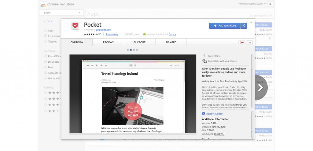 Examinar contenido en línea con Pocket