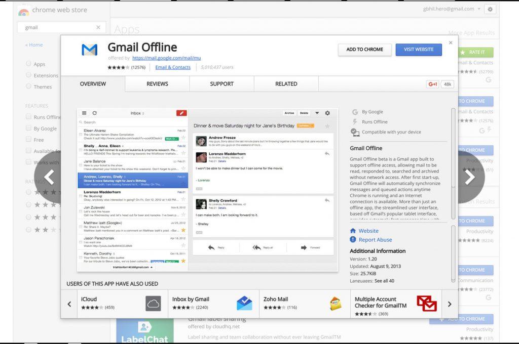 Usar gmail sin conexión en Chromebook