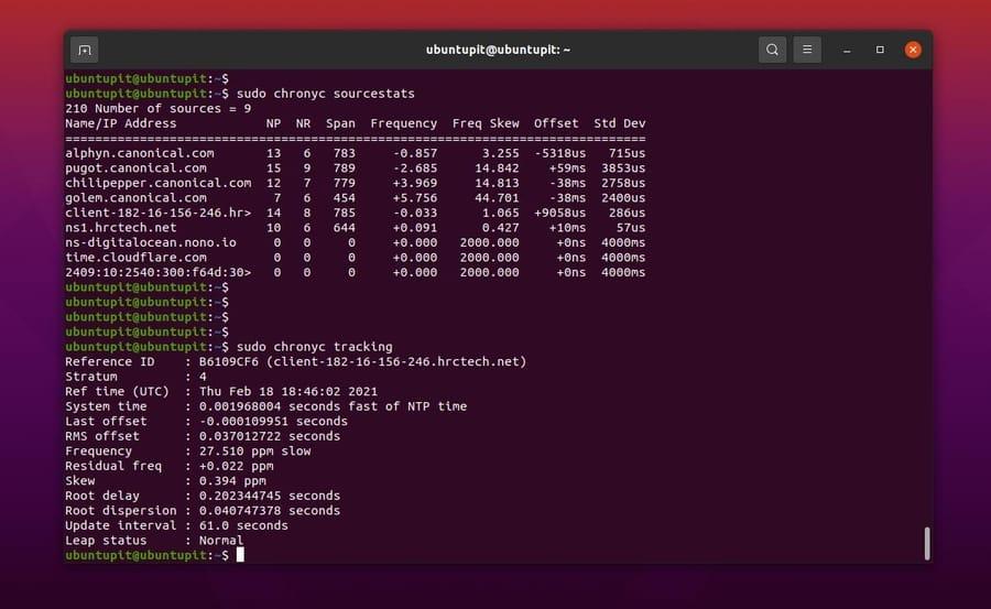seguimiento de estadísticas de origen Sincronizar hora con NTP en Linux
