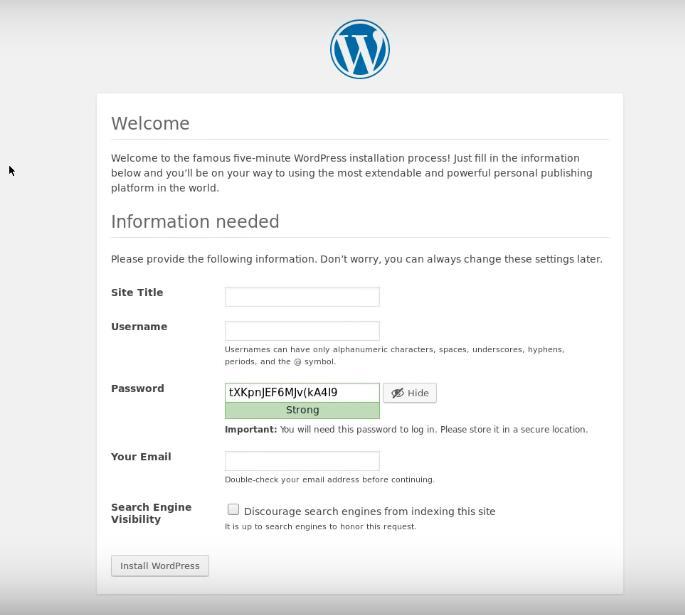 instalar WP a través de la web
