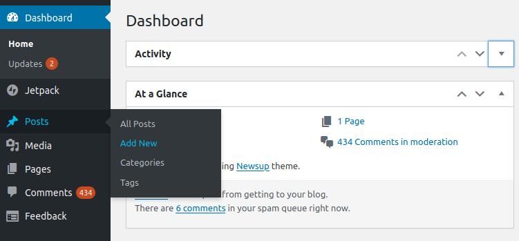 nueva publicación en WordPress Ubuntu