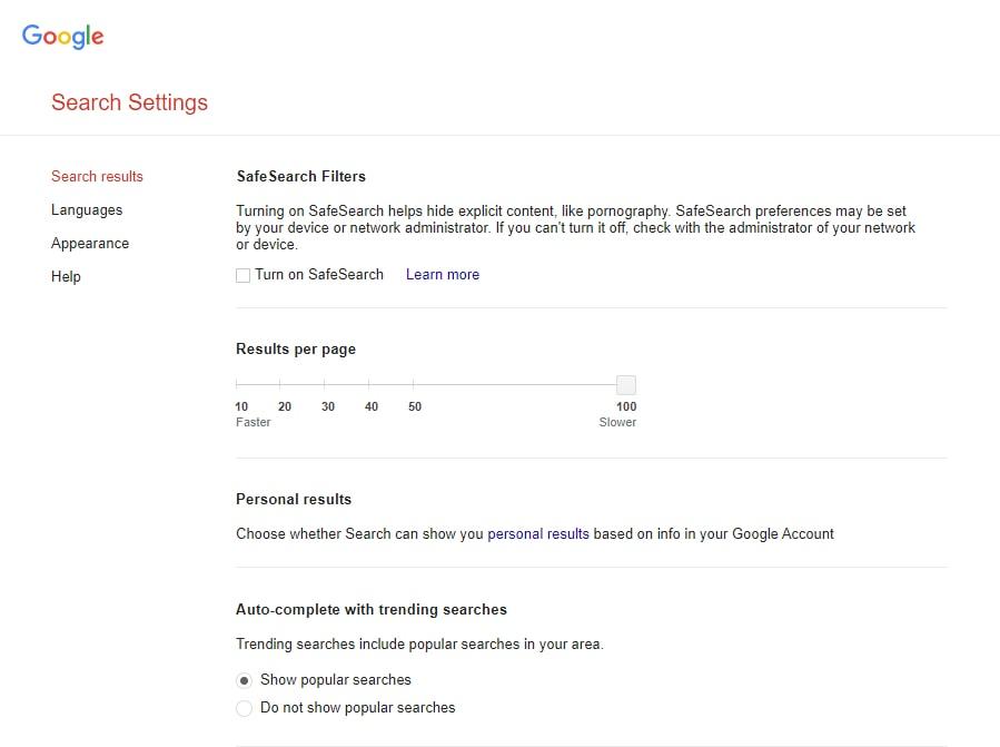 Configuración personalizada de Google