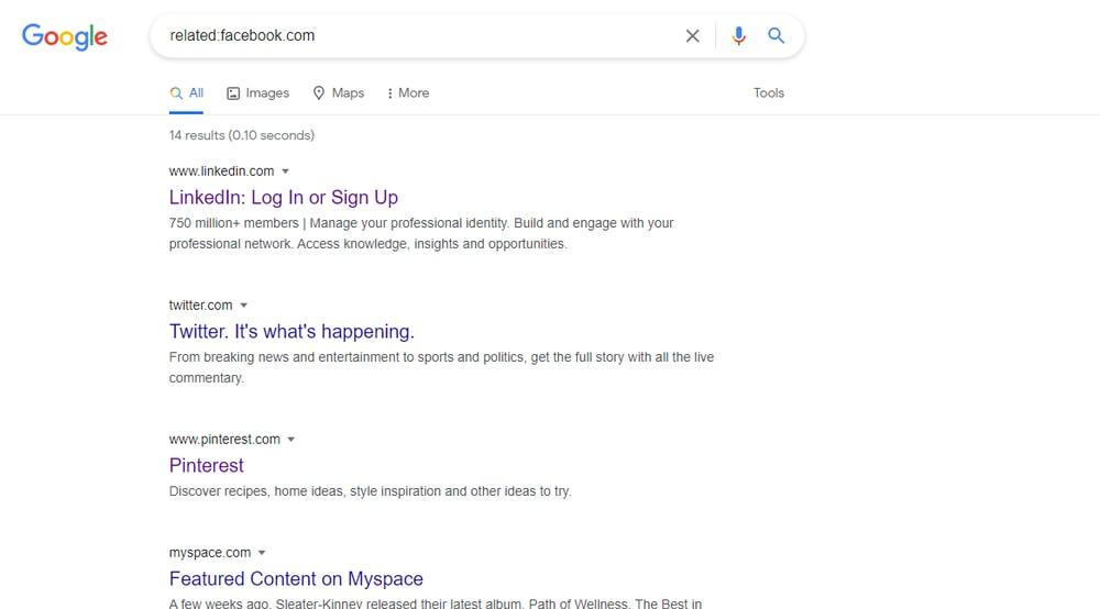 Buscar un sitio web similar