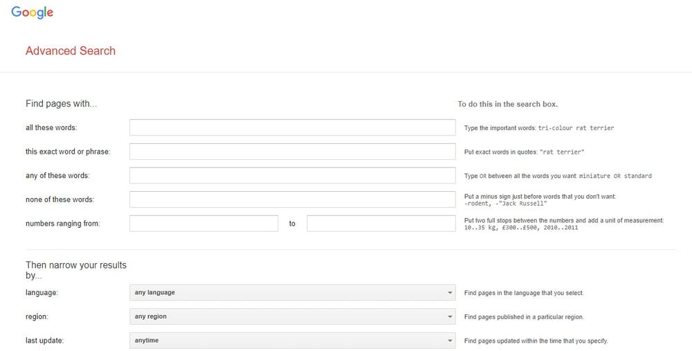 Trucos de configuración de búsqueda avanzada de Google