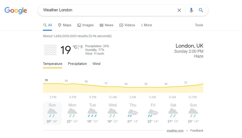 Obtener información meteorológica en directo