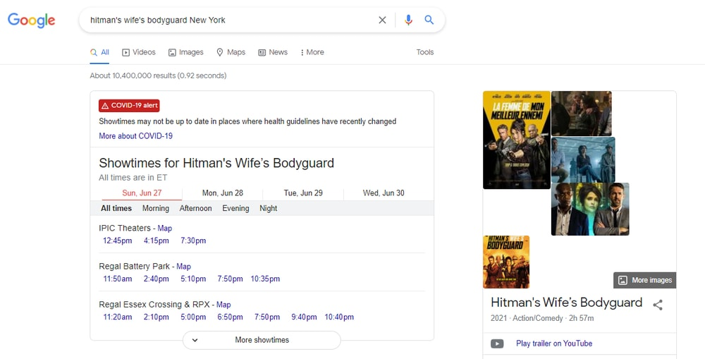 Obtenga Movie ShowTime - Google Search Tricks