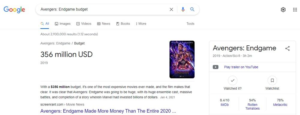 Obtener información de la película